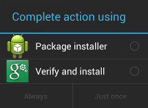 install apk using selection